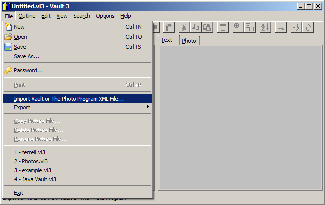 Go to Vault 3 and select File / Import Vault or The Photo Program XML File