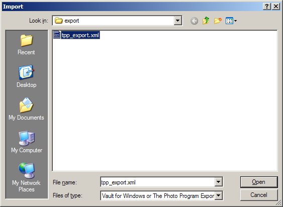 Navigate to the file you exported from The Photo Program and click Open