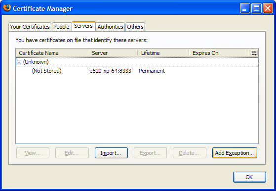 Firefox 3 Certificate Manager