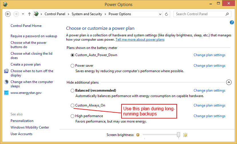 Switch to different Power Plan during Backup